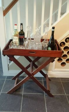 FABULOUS ANTIQUE MAHOGANY BUTLER TRAY & STAND Product Ideas, New Product, Rv Table Ideas, Butler Tray, Drinks Trolley, Beautiful Interiors, Antique Furniture, Beverage, Barware