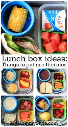 Lunch Box Ideas Things to put in a thermos is part of Kids lunch for school - Food to put in a thermos for a school lunch Cold Lunches, Lunch Snacks, Lunch Recipes, Baby Food Recipes, Healthy Snacks, Healthy Recipes, Kid Snacks, Healthy Food For Kids, Bag Lunches