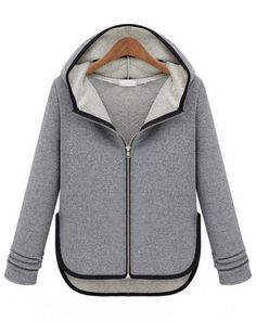 Grey Hooded Long Sleeve Contrast Trims Sweater - Sheinside.com Mobile Site