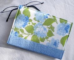 Items similar to Fabric Journal Cover - Vintage Blue Hydrangea - Handmade Fabric Cover Notebook, Diary - Blue, Green, White and Turquoise Flowers on Etsy Notebook Covers, Journal Covers, Journal Notebook, Promotion Party, Small Journal, Cute Sewing Projects, Fabric Journals, Turquoise Flowers, Blue Hydrangea