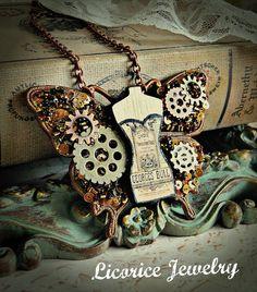 Sequins Gears Corset Butterfly Steampunk Necklace gothic neovictorian victorian goth dark watch parts brass antique c