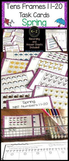 Tens Frames   Task Cards   Spring   math   centers   scoot   kindergarten   first grade
