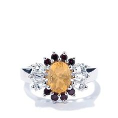 Fire Opal Ring with White Topaz in Sterling Silver 1.97cts