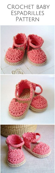bc0f41aa9c CROCHET PATTERN Baby Espadrille Sandals instant download Baby shoes pattern  Written in English photo tutorial