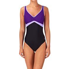 Zoggs Swimsuits - Zoggs Aqua Chic Crsback Swimsuit - Black / Purple