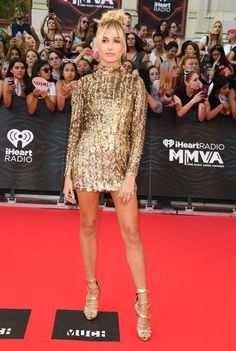 Pin for Later: Forget the LBD and Check Out Hailey Baldwin's Gold Metallic Mini