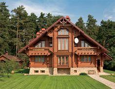 Дом из оцилиндрованного бревна в стиле русский модерн | Дома из оцилиндрованного бревна | Журнал «Деревянные дома»