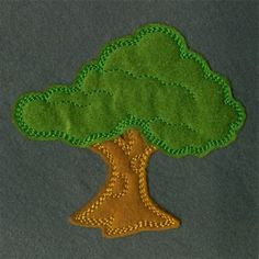 Fluffy Applique Tree embroidery design