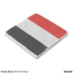 Yemen, flag stone beverage coaster