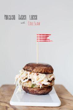 portabello chicken burger with coleslaw
