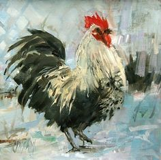 Cool Customer, oil painting & chicken landscape, painting by artist Mary Maxam