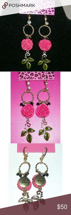 Rare!! Betsey Johnson Rose Garden Earrings Rare!! Betsey Johnson Rose Garden dangle earrings  Very hard to find- retired! Betsey Johnson Jewelry Earrings