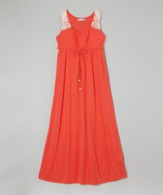 Look what I found on #zulily! Speechless Coral & White Crocheted Trim Maxi Dress by Speechless #zulilyfinds