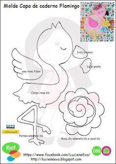 Capa de Caderno Flamingo com molde Felt Ornaments Patterns, Felt Patterns, Foam Crafts, Diy And Crafts, Paper Crafts, Sewing Crafts, Sewing Projects, Flamingo Craft, Marianne Design