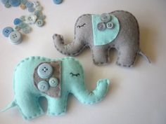 Dreamtime Baby Elephants  Baby Blue and Grey Felt by MaisieMooNZ