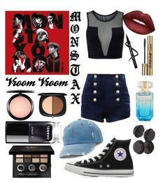 """""""Rush by MONSTA X inspired"""" by amberly-toney ❤ liked on Polyvore featuring Varley, Pierre Balmain, Lime Crime, Bobbi Brown Cosmetics, MAC Cosmetics, Yves Saint Laurent, Marc Jacobs, Converse and Mudd"""