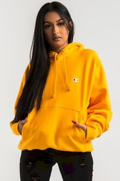 Champion Women's Pullover Hoodie in Beige Teal Purple Yellow Team Gold Style Yellow Champion Sweatshirt, Champion Hoodie Women, Champion Pullover, Oversized Hoodie Outfit, Sweatshirt Outfit, Champion Clothing, Stylish Hoodies, My Champion, Teen Fashion