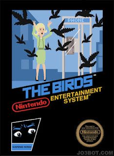 This is very small series from artist Joe Spiotto of Alfred Hitchcock movies imagined as Nintendo game box art. Unfortunately he only did three of them (Psycho, Birds, North by Northwest) and didn't include my favorites like Vertigo, Rebecca,. Alfred Hitchcock, Hitchcock Film, Nes Games, Games Box, Nintendo Games, Film Games, Nintendo Sega, Gallows Humor, Vintage Video Games