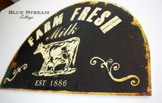 Image of Large Metal Cow Sign - Farm Fresh Milk Wall Art - Farmhouse Decor - Dairy Creamery Metal Art