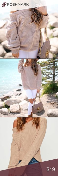 Missguided Off-The-Shoulder Knitted Sweater Super stylish beige knit sweater with wide, off the shoulder neckline. Worn once. Size M/L. Missguided Sweaters Crew & Scoop Necks