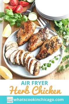 Air Fryer Herb Chicken Breasts Other Recipes, Meat Recipes, Air Fryer Oven Recipes, Cooking With Olive Oil, Recipe Collections, Chicken Breasts, No Cook Meals, Fried Chicken, Main Dishes
