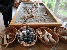 sand, scoops and loose parts what a great way to explore texture,form,pattern and nature...image only