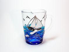 Sailor Gift Hand Painted Coffee Mug, Coastal Decor gift, Ocean Tea Cup, Blue Mug