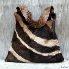 Hair On Cowhide Purse in Brown Zebra Print
