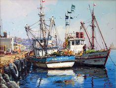 Arte, pintura, oleo, acuarela, escultura Shrimp Boat, Fishing Boats, Pastel, Beautiful Landscapes, Sailing Ships, Art Drawings, Cool Art, Scenery, Sketches