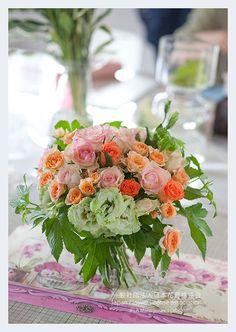【鮮やかな夏のミックスクラッチブーケ♡】JFLA Wedding Bouquet.Orange,Pink,Green.Fresh Flower Diploma Class.JFLAフレッシュフラワー本部講師資格の生徒様作品。