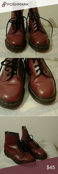 Dr.Martens boots. Burgundy. Wine.Super dark red Dr.Martens....women's size 7 .I feel they run a little big.... Used with minor scuffs...Great condition. Dr. Martens Shoes Combat & Moto Boots