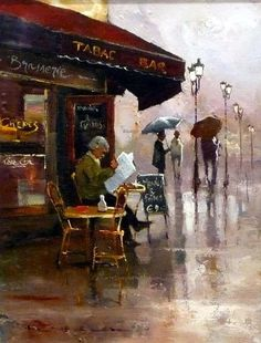 Peter Fennell, Rainy Day, 1949. The artist uses value to show light and dark in a street scene. It is a rainy day shown through the use of white on dark gray background to depict water puddles reflecting light. Mrs Curran Art 6