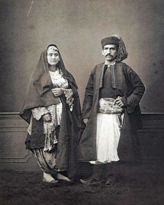 """Ottoman Costumes 1873"",Muslim man and woman from Shkodra, Albania"
