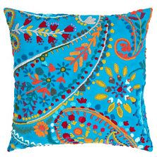 Amelie Turquoise Embroidered Decorative Pillow D&A