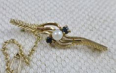 Edwardian Sapphire And Pearl Brooch pin  9ct.  Edwardian