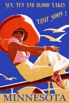 Minnesota Lakes Fashion Lady Boat Travel Tourism Vintage Poster Repro FREE S/H | eBay