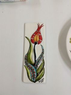 Birsen Sorgucu çini Lale Spoon Rest, Tile Painting, Ceramics, Flowers, Accessories, Patterns, Design, Art, Pintura