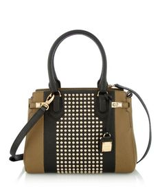 Carlyle Studded Satchel    Henri Bendel The Carlyle Studded Barrel makes a fierce Fall fashion statement. This design incorporates the must-have military trend with a nod to embellishment, with stingray embossed leather and gold-tone studs over nearly every inch.