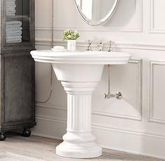 Elliston Pedestal Sink : Polished Nickel Widespread Bathroom Faucet by Kingston Brass ...