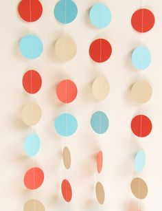 Wedding Garland Coral Aqua & Taupe Circle by MailboxHappiness, $10.00