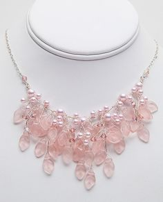 Hey, I found this really awesome Etsy listing at https://www.etsy.com/listing/121272034/pink-bridal-necklace-floral-jewelry-pink