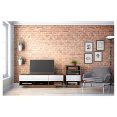 Sequence Entertainment Kit with TV Stand and Drawer Audio Cabinet - 60 - White & Walnut - Nexera