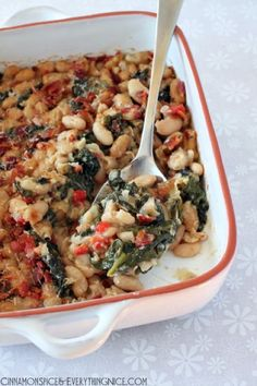 Spinach and White Bean Gratin with Bacon by Cinnamon Spice and Everything Nice...Think I could sub the bacon for veggie sausage.