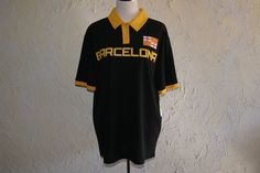 FIFTH SUN BARCELONA Black With Yellow Trim Soccer Short Sleeve Jersey Size Med #FIFTHSUN