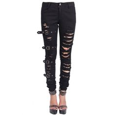 Chaos Ripped Trousers by Devil Fashion ❤ liked on Polyvore featuring pants, white pants, ripped pants, white trousers, stretch trousers and stretch pants