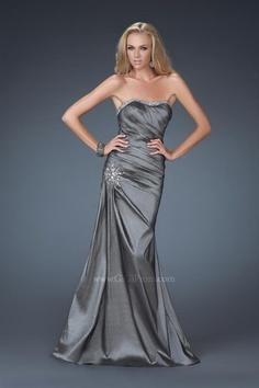 Mermaid Sweetheart Neckline Strapless with Beading and Ruffles Floor Length Zipper Taffeta prom dress