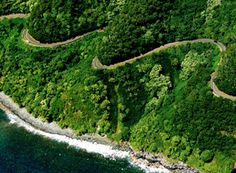 The Road to Hana...white knuckle drive in Maui, one lane, 2 way traffic at the edge of cliffs...and backing up is a must to let people come from the other way..scary!