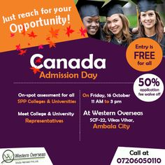 A ‪Big‬ Announcement - #Canada‬ Admission Day on ‪Tomorrow‬ at Western Overseas #Ambala‬ - Meet Canada ‪College‬ & ‪University‬ Representative Directly From 11 AM To 03 PM.