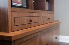drawer front with veneer inlay. Custom woodwork and furniture made in Toronto.