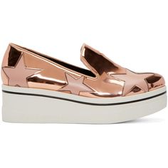 Stella Mccartney Copper Star Platform Binx Sneakers (6.829.115 IDR) ❤ liked on Polyvore featuring shoes, sneakers, star shoes, striped shoes, star sneakers, platform slip on shoes and round cap